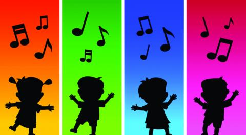 Music and Movement graphic depicting colorful panes of dancing silhouettes